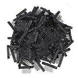 7 teeth Wig Combs Hair Clips Convenient for Wig Caps (Black, 1000pcs)