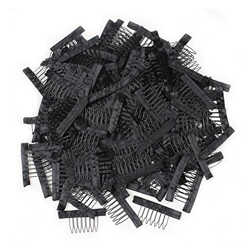 7 teeth Wig Combs Hair Clips Convenient for Wig Caps (Black, 1000pcs) by XtrendHair