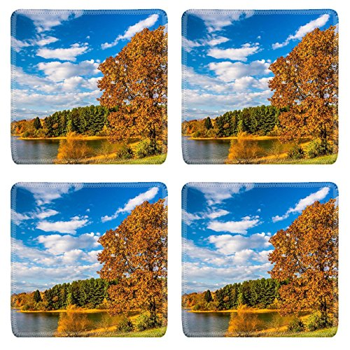 Luxlady Square Coasters Non Slip Natural Rubber Desk Coasters Image Id  25228020 Autumn Tree And View Of Lake Marburg At Codorus State Park Pennsylvania