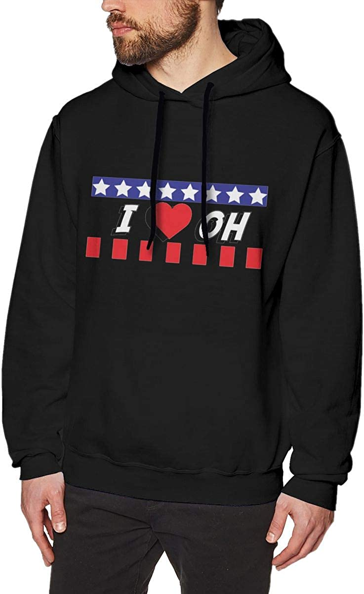 I Love Ohio OH Mens Pullover Hooded Sweatshirt Long Sleeve Hoodies