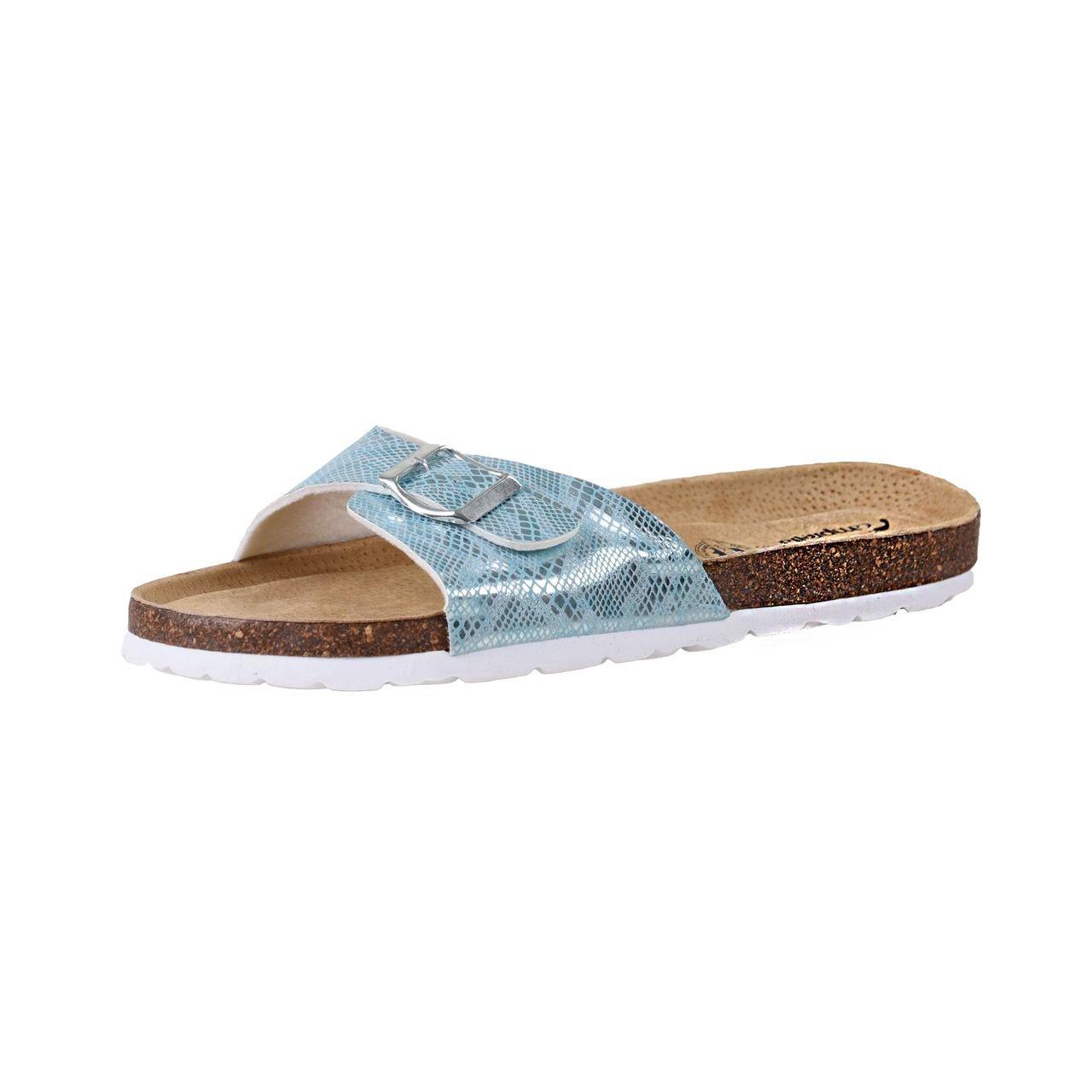 CAMPRELLA Damen Tieffußbett Pantolette Sandalen 1-Schnaller
