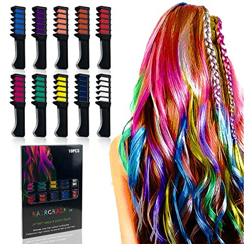 Hair Chalk - 10 Pcs Temporary Hair Chalk Comb Hair Dye For Halloween Celebration Make Up Party Cosplay And Diy Non-toxic And Easily Washable Adults & Kids (hair chalk 10PCS) -