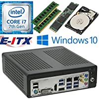 E-ITX ITX350 Asrock H270M-ITX-AC Intel Core i7-7700 (Kaby Lake) Mini-ITX System , 32GB Dual Channel DDR4, 480GB M.2 SSD, 2TB HDD, WiFi, Bluetooth, Window 10 Pro Installed & Configured by E-ITX