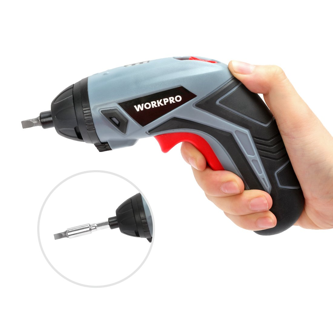 WORKPRO Cordless Rechargeable Screwdriver, Powered by 3.6V Li-ion Battery, USB Charging Cable and 10-piece Bits Included by WORKPRO (Image #4)