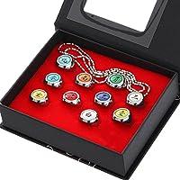 Brteyes Conjunto e colar de 10 peças de anéis Naruto para cosplay Akatsuki anéis de anime ajustáveis com caixa de…