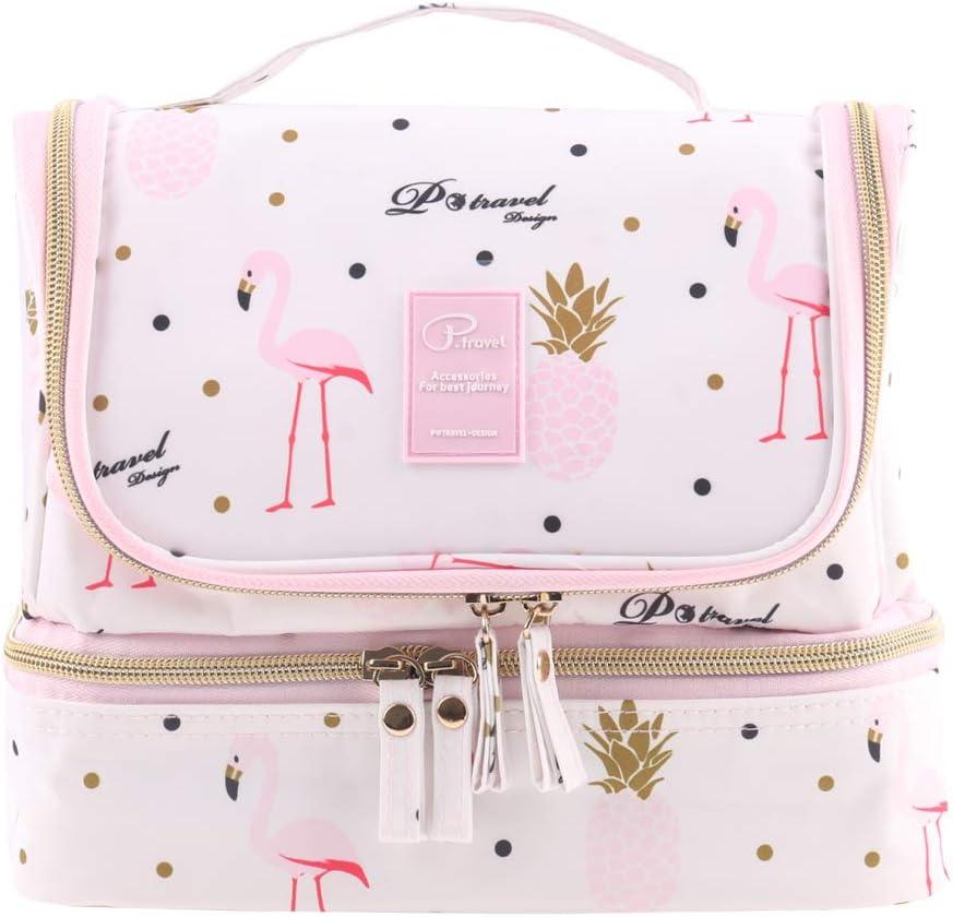 Tuscall Bolsas de Aseo Neceser de Viaje para Mujeres - Neceser para Colgar con Gancho para Hogar Vacaciones Viaje de Negocios Equipaje (Pink Flamingo)