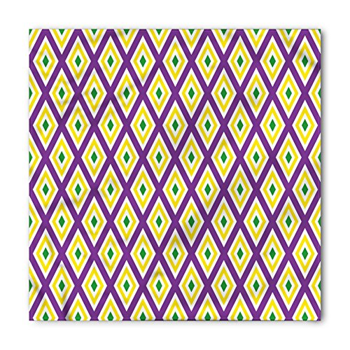 Diamond Mardi Gras Colors (Mardi Gras Bandana by Ambesonne, Classical Diamond Line Rhombus Pattern in Traditional Carnival Colors, Printed Unisex Bandana Head and Neck Tie Scarf Headband, 22 X 22 Inches, Purple Yellow Green)