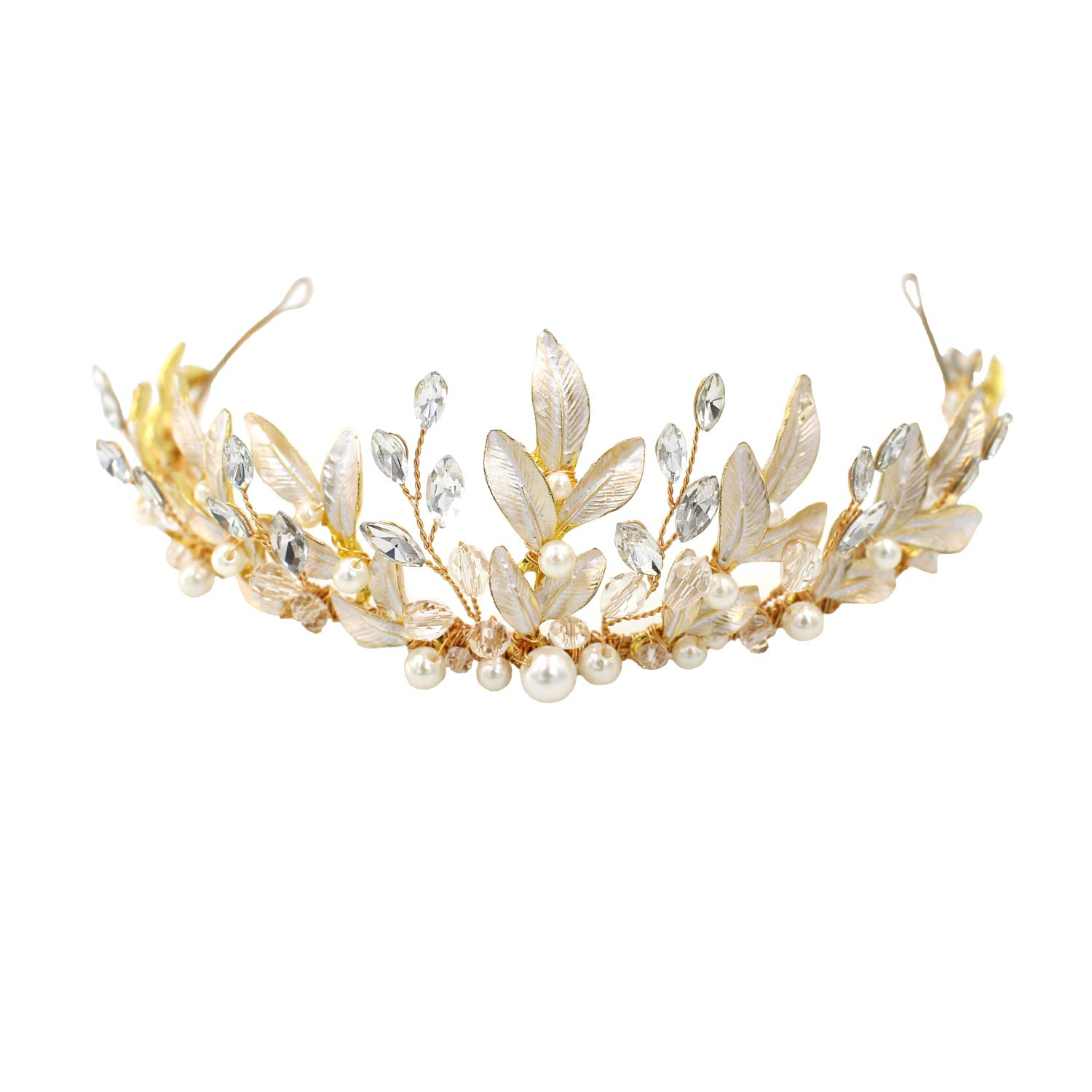 Bridal Tiara Headpiece Hair Vine Jewelry Crystals Pearl Headband Wedding Party Evening Hair Accessories by OUMOU
