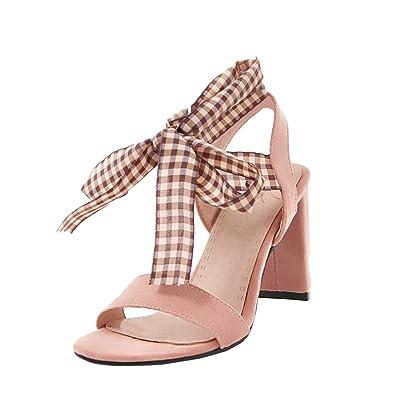 Aiyoumei Damen Blockabsatz Sandaletten Zum Schnuren Schuhe High