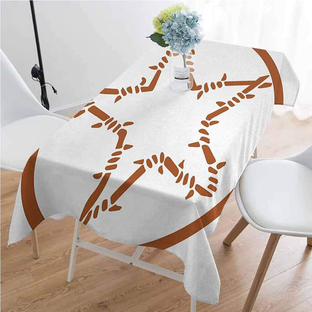 Texas Star Easy to care for leakproof and durable long tablecloths Barbed Wire Style Star in a Circle Western Themed Monochrome Motif Borders Outdoor picnic W70 x L120 Inch Brown and White