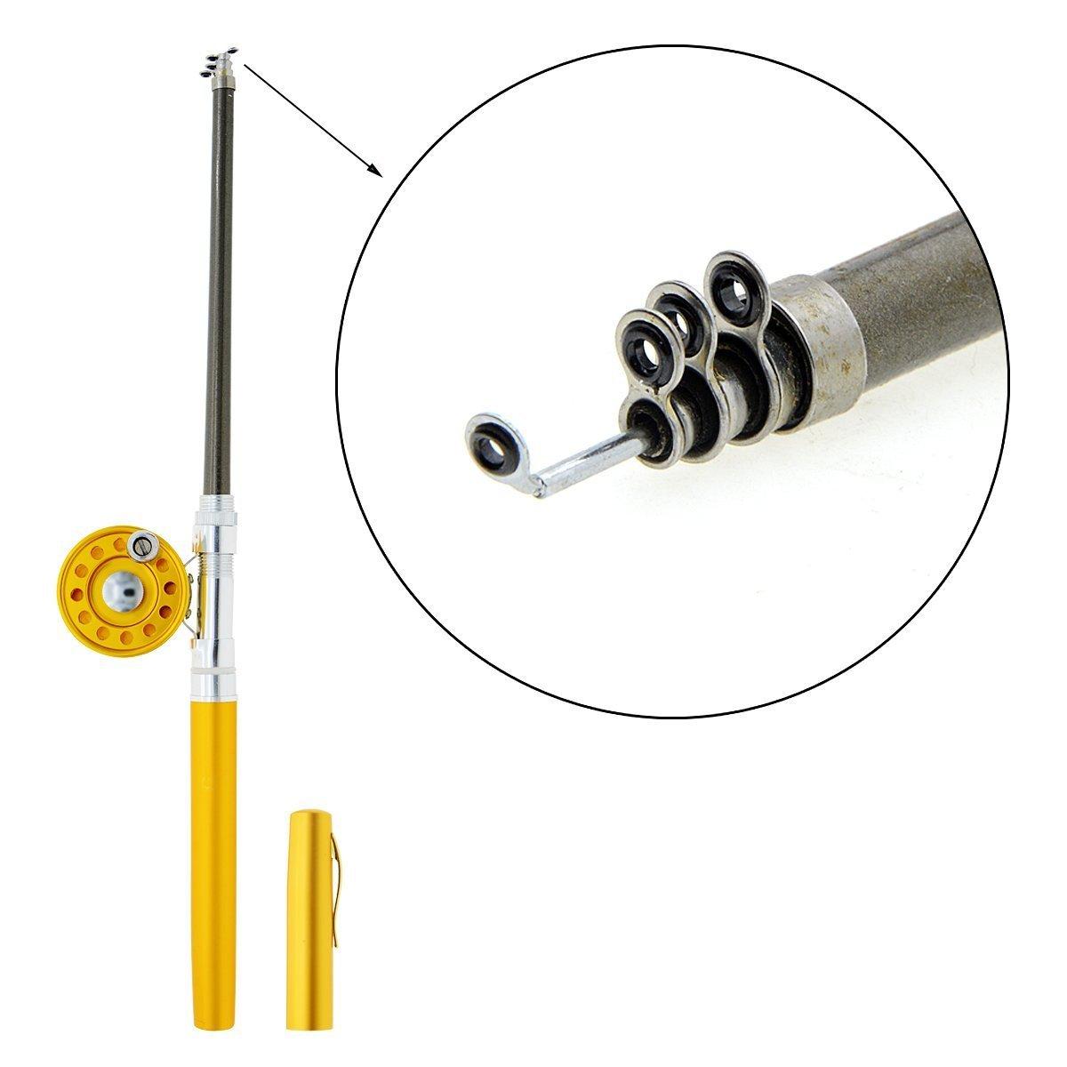 Saim 36In(3Ft) Mini Portable Pocket Aluminum Alloy Pen Shape Fishing Rod