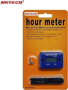 Digital Inductive Maintenance Hour Meter for Lawn Tractor Generator ATV Blue