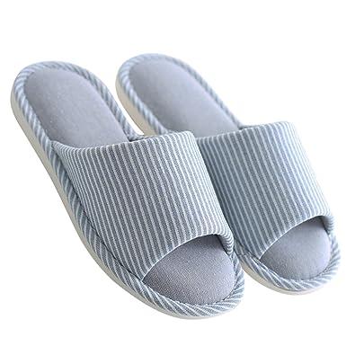 c6c48306e0cc mianshe Women s and Men s House Slippers Non-Slip Open Toe Couple Sandals  Knitted Cotton Mules