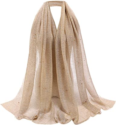 WOMENS IVORY GOLD SPARKLY SHIMMER FASHION SCARF,SHAWL,SHOULDER WRAP,STOLE,HIJAB