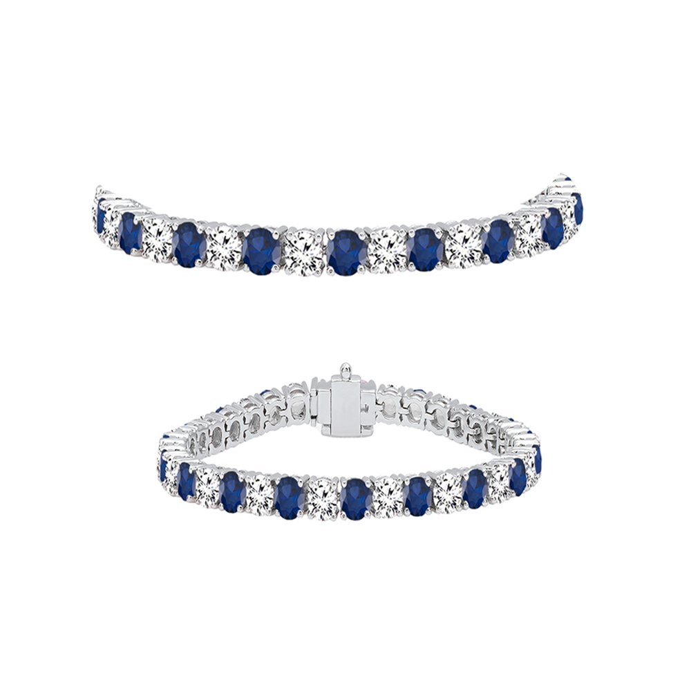 Dazzlingrock Collection 14K Round Cut Real Blue Sapphire & White Diamond Ladies Tennis Bracelet, White Gold