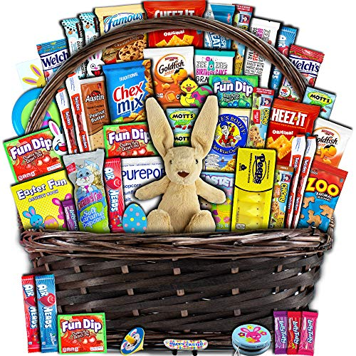 Easter Gift Basket for Kids and Adults (50ct) – Already Filled wrapped with Plush Easter Bunny, Chocolate, Candy, Peeps…