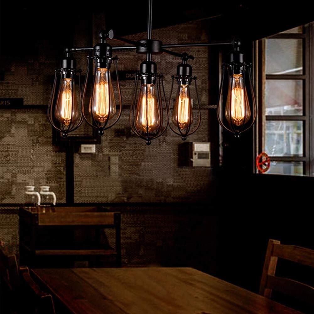 Industrial cage chandelier 5 lights vintage pendant light metal edison hanging ceiling light fixtures adjustable and rotatable loft style for Kitchen Island Dining Table Bedroom Hallway by KJLARS (Image #2)