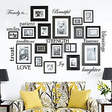 Set Of 12 Family Quote Words Vinyl Wall Sticker Picture Frame Wall