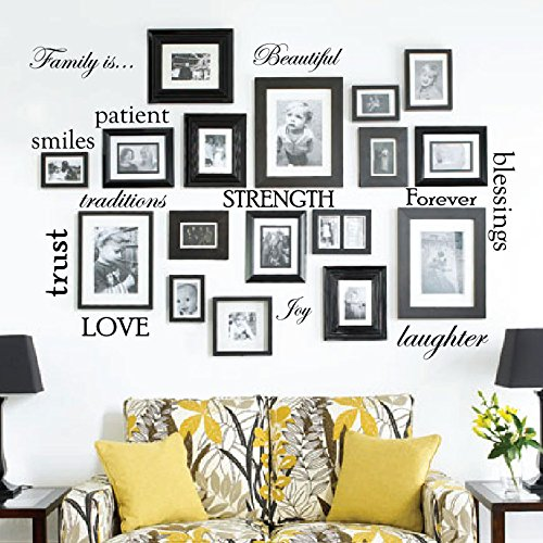 Set of 12 Family Quote Words Vinyl Wall Sticker Picture Frame Wall Family Room Art Decoration #1332 (Matte Black) (Wall Tree Photo Frame)