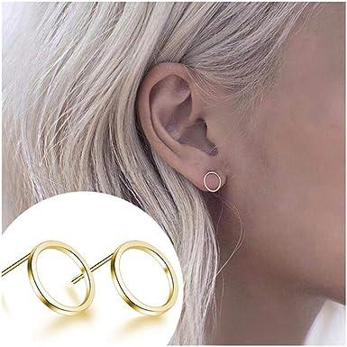 Simple Circle Earrings Minimalist Silver Earrings Long Silver Earrings Circle Silver Stud Earrings