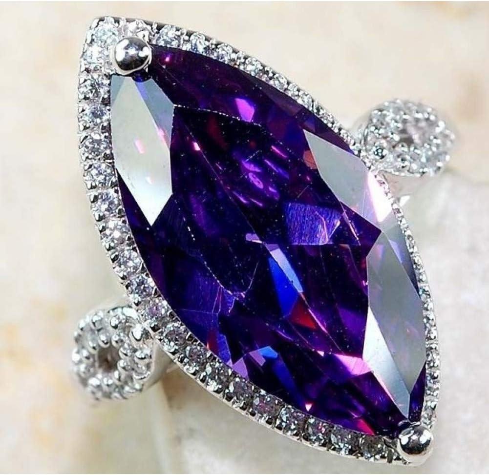BAJSKD óvalo púrpura Piedra semipreciosaPlata púrpura Misterioso Anillo de circón, Anillo de Bodas masivo en Forma de olivino Chica