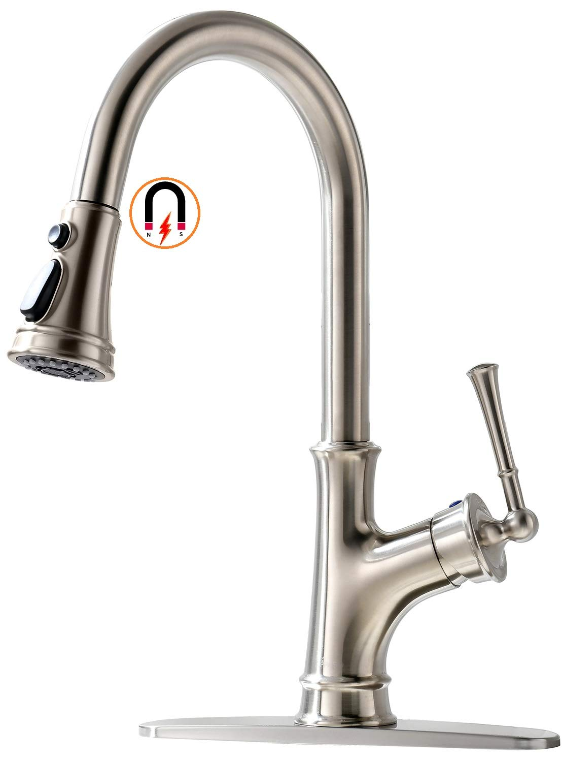 APPASO Pull Down Kitchen Faucet with Magnetic Docking Sprayer, Stainless Steel Brushed Nickel Single Handle Commercial High Arc Single Hole Pull Out Kitchen Sink Faucets with Deck Plate by APPASO