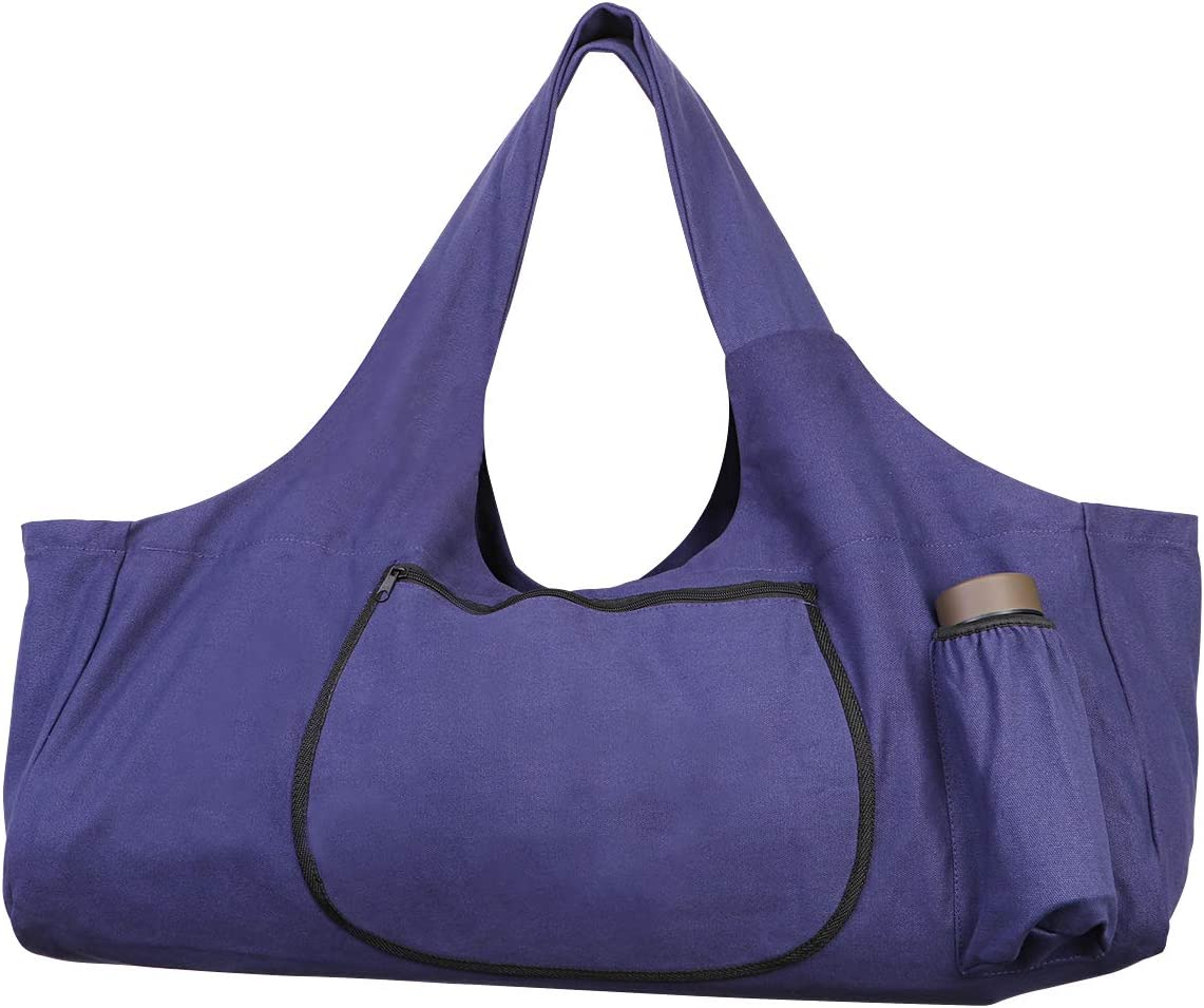 Amazon Com Tendycoco Yoga Mat Bag Large Yoga Mat Tote Sling Carrier With Side Pockets And Zippers Purple Sports Outdoors