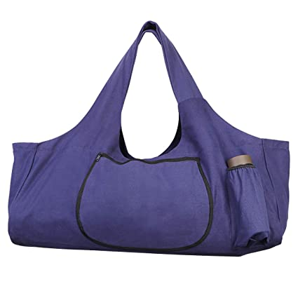 TENDYCOCO Yoga Mat Bag Large Yoga Mat Tote Sling Carrier with Side Pockets and Zippers - Purple