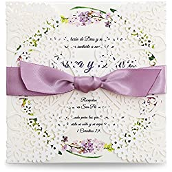 Dream Bulit Square Wedding Invitations Cards Kits Fall Bridal, Baby Shower Invite, Birthday Invitation Wedding Rehearsal Dinner Invites, Autumn Engagement Bach with Purple Bowknot Hollow,50pc (1)