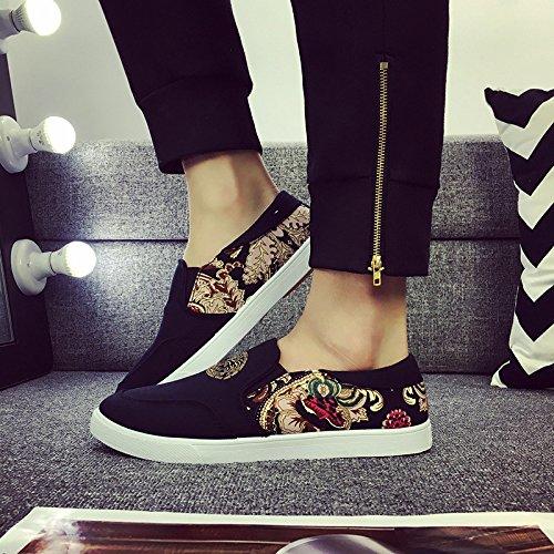 Mode Heren Sportschoenen Canvas Ademend Instapper Lui Casual Sneakers Zwart