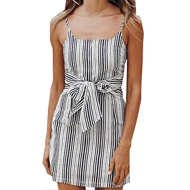 b77c83565e 2019 Vacation Bohemian Beach Striped Sexy Strapless Vintage Summer Sundress  at Amazon Women's Clothing store: