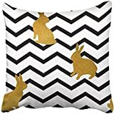 Throw Pillow Cover 18''X18'' Polyester Black Bunny The Silhouettes Of Gold Rabbits On Chevron For Easter And White Pets Animal Decorative Pillowcase Two Sides Deco For Home