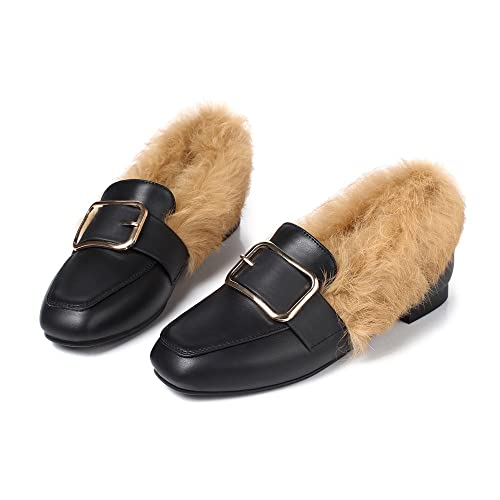 Amazon.com | Meotina Women Flats Shoes Real Rabbit Fur Boat Shoes Buckle Slip On Loafers | Loafers & Slip-Ons