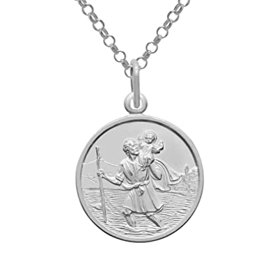 81b83fdcce0 925 Sterling Silver Saint St Christopher 20mm Pendant & 20 inch Chain  Necklace High Quality with