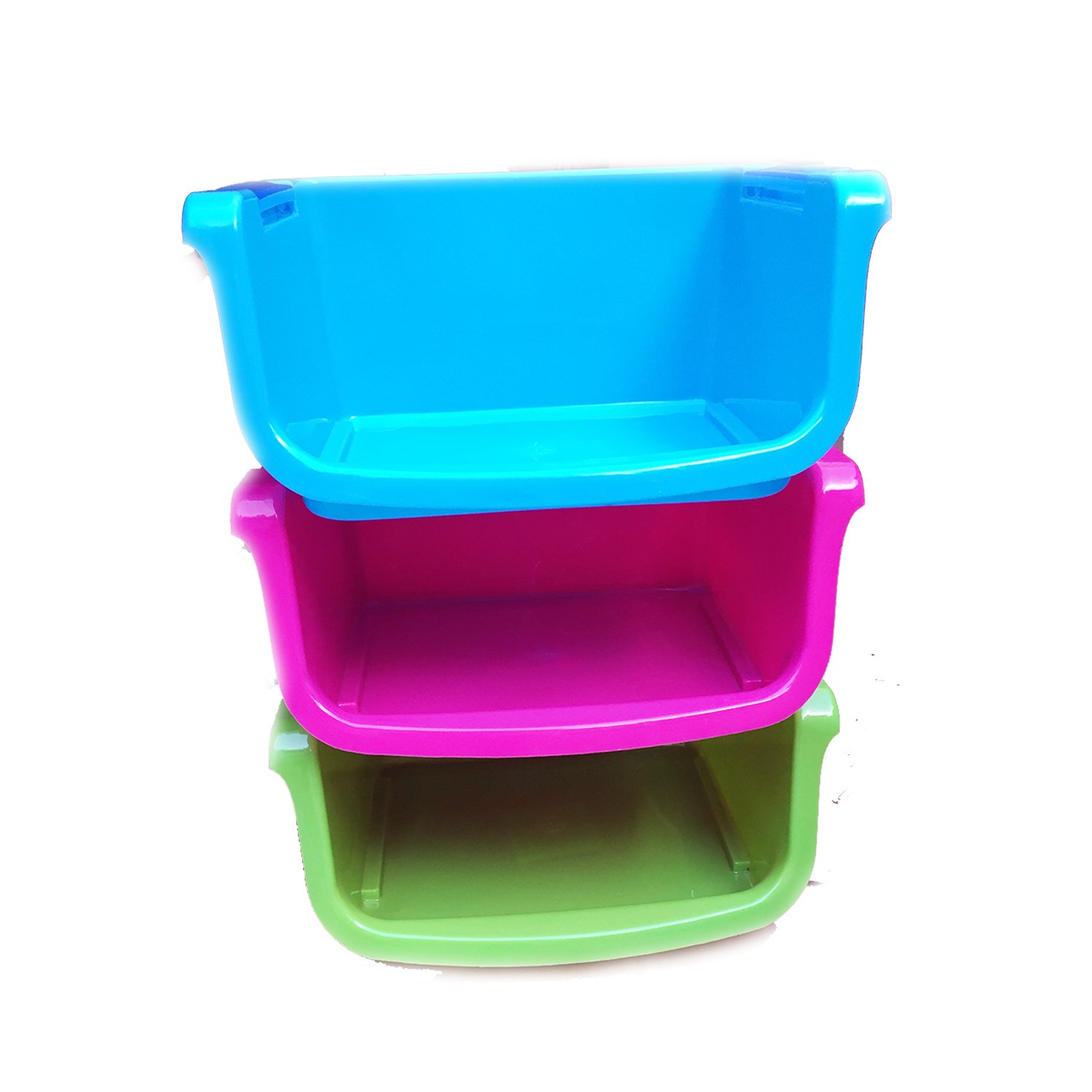 Stackable Storage Bins Stacking Book Bins for Classroom Plastic Small Organize Trays Organization Bin for Shelves Colorful Containers for Organizing Toys Set of 3 Pack
