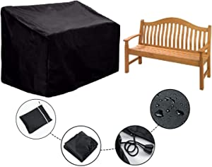 ConPus Waterproof Outdoor Bench Cover - Two Seater Garden Bench Cover with Durable 210D Oxford Material+ Extra PVC Coating, Patio Bench Cover - 53
