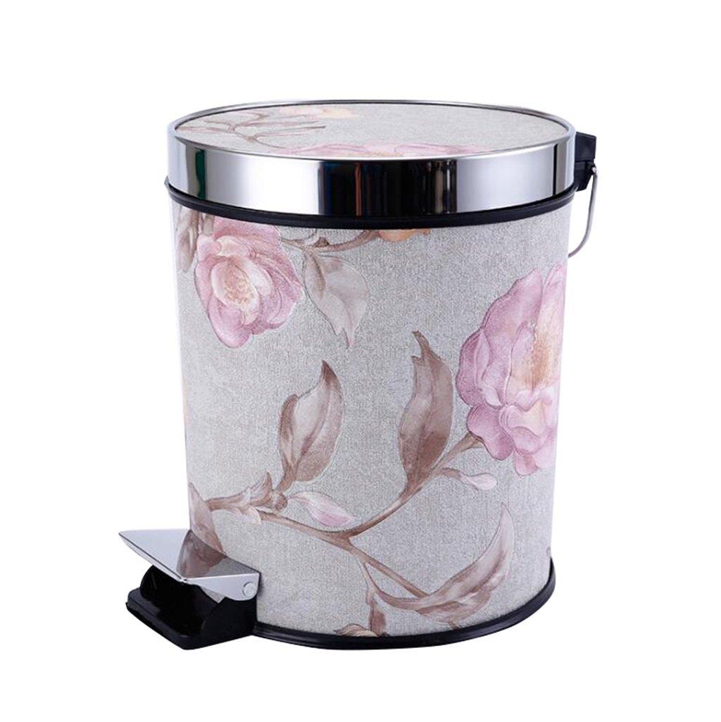 グレー+ピーニーペダルゴミ箱ファッションクリエイティブゴミ箱カバーフットゴミ箱付きキッチンバスルーム15L B07CZ8PNW7