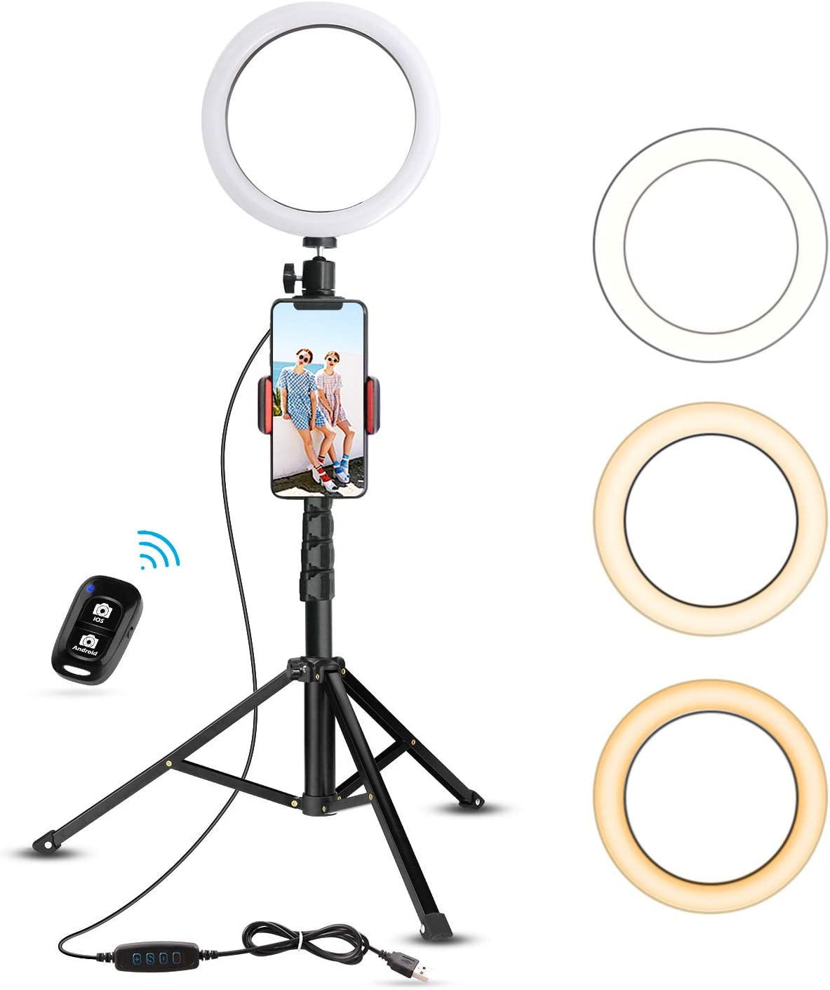 "8"" Selfie Ring Light with Tripod Stand & Cell Phone Holder for Live Stream/Makeup, UBeesize Mini Led Camera"