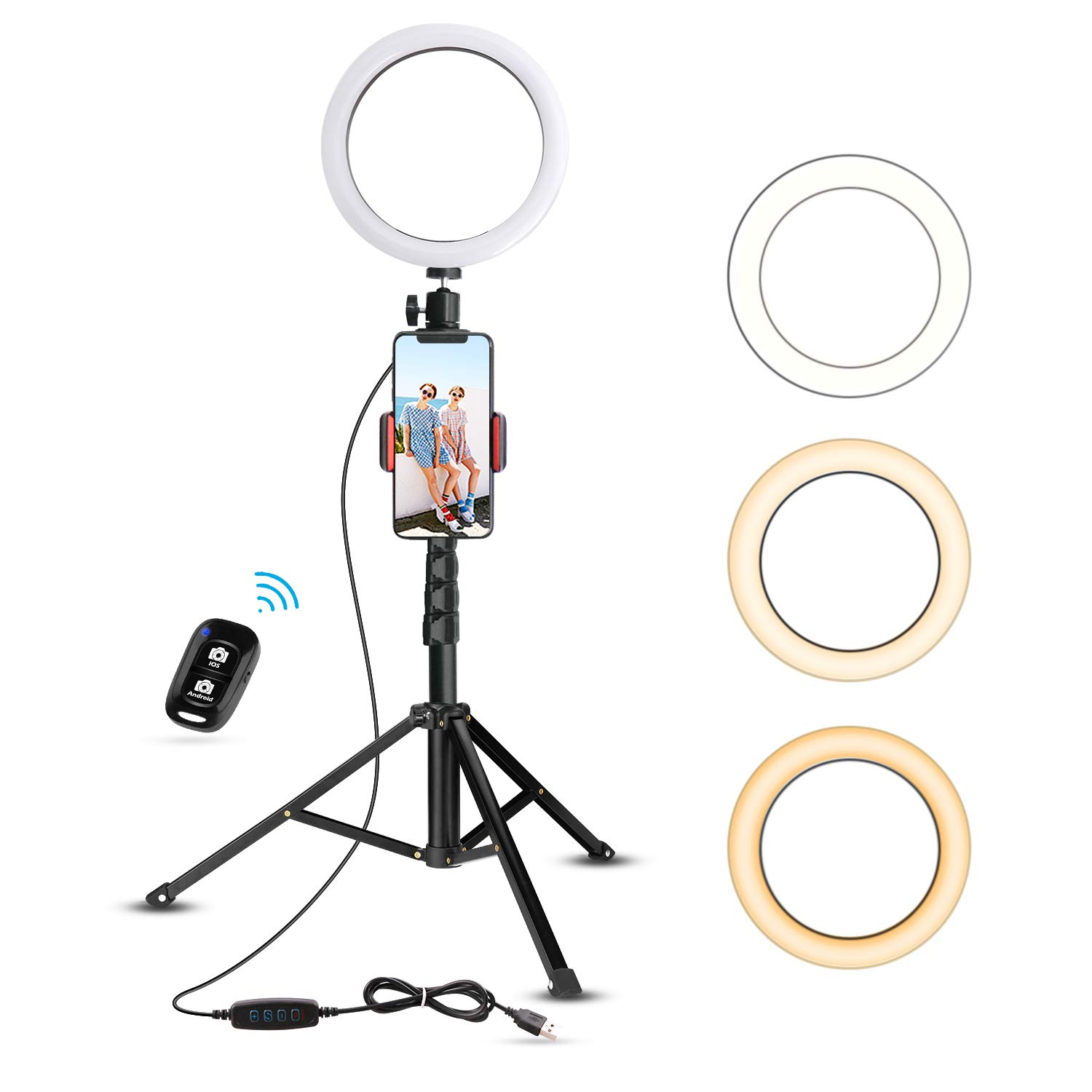 8'' Selfie Ring Light with Tripod Stand & Cell Phone Holder for Live Stream/Makeup, UBeesize Mini Led Camera Ringlight for YouTube Video/Photography Compatible with iPhone Xs Max XR Android (Upgraded) by UBeesize (Image #1)