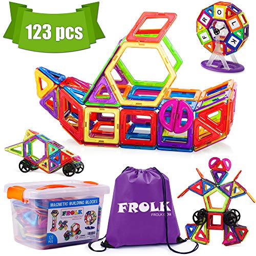 Frolk Magnetic Building Blocks Set - 123 Piece :Colorful Tiles, Educational Cards, Wheels .Educational Toy for Girls and Boys. Premium Gift for ()