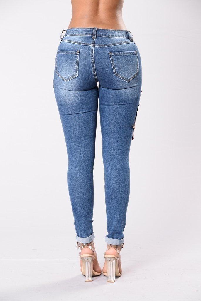 Las mujeres floral bordado atractivo jeans ajustados jeans rotos L/¨/¢piz Pantalones vaqueros pantalones apretados del