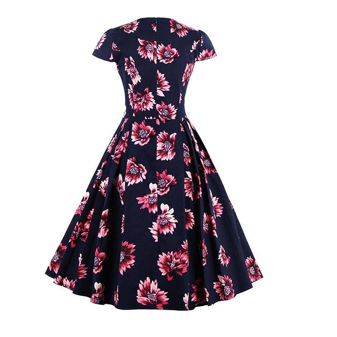 Mujer Plus Size S~4XL elástico de algodón Vintage vestido floral AudreyRetro Rockabilly Swing elegante Feminino vestidos: Amazon.es: Ropa y accesorios