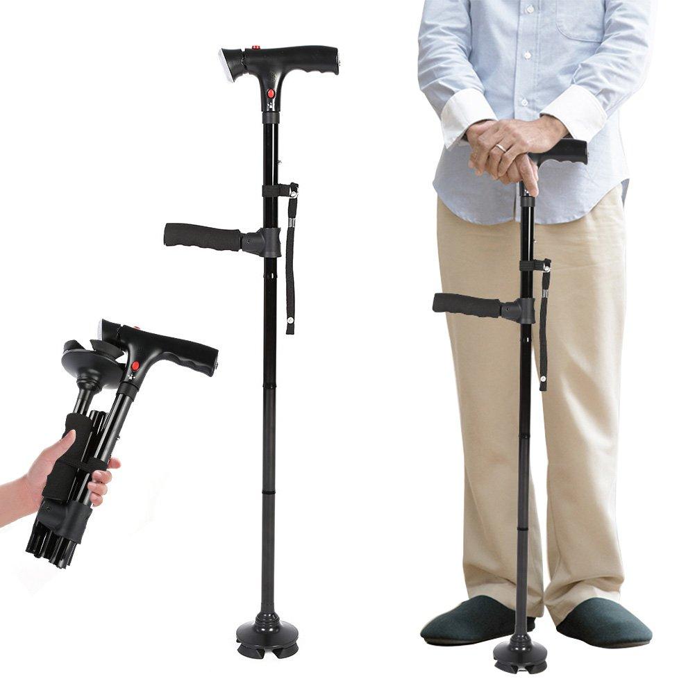 LED Walking Stick, Folding Safety Cane with 4 Head Pivoting Trusty Base Black
