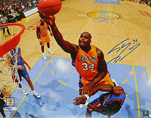 Shaquille-ONeal-Autographed-Los-Angeles-Lakers-Lay-Up-vs-Pistons-16-x-20-Photograph-Signed-Photos