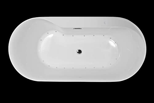 Carver Tubs – Amur 70 Freestanding – Jetted Air Massage With 20 Heated Air Jets – 70.5 L x32.5 W x 23 H – White Acrylic Chrome Drain Overflow