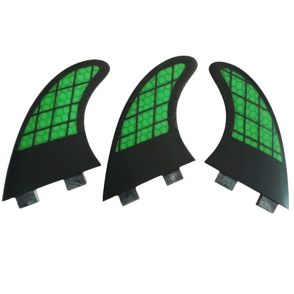 UPSURF Surfboard Fins FCS Carbon+Honeycomb Fiberglass Fins G5 Green Surfing Fin