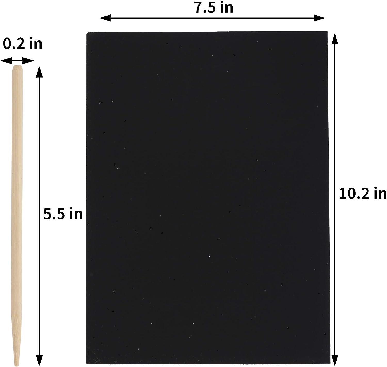 Scratch Art Books Scratch Art Paper Large Black Magic Rainbow Painting Boards 2 Scratch Art Notebooks 20 Piece Scratch Off Art Crafts Notes Sheets Rainbow Magic Scratch Paper for Kid Fun DIY Toy