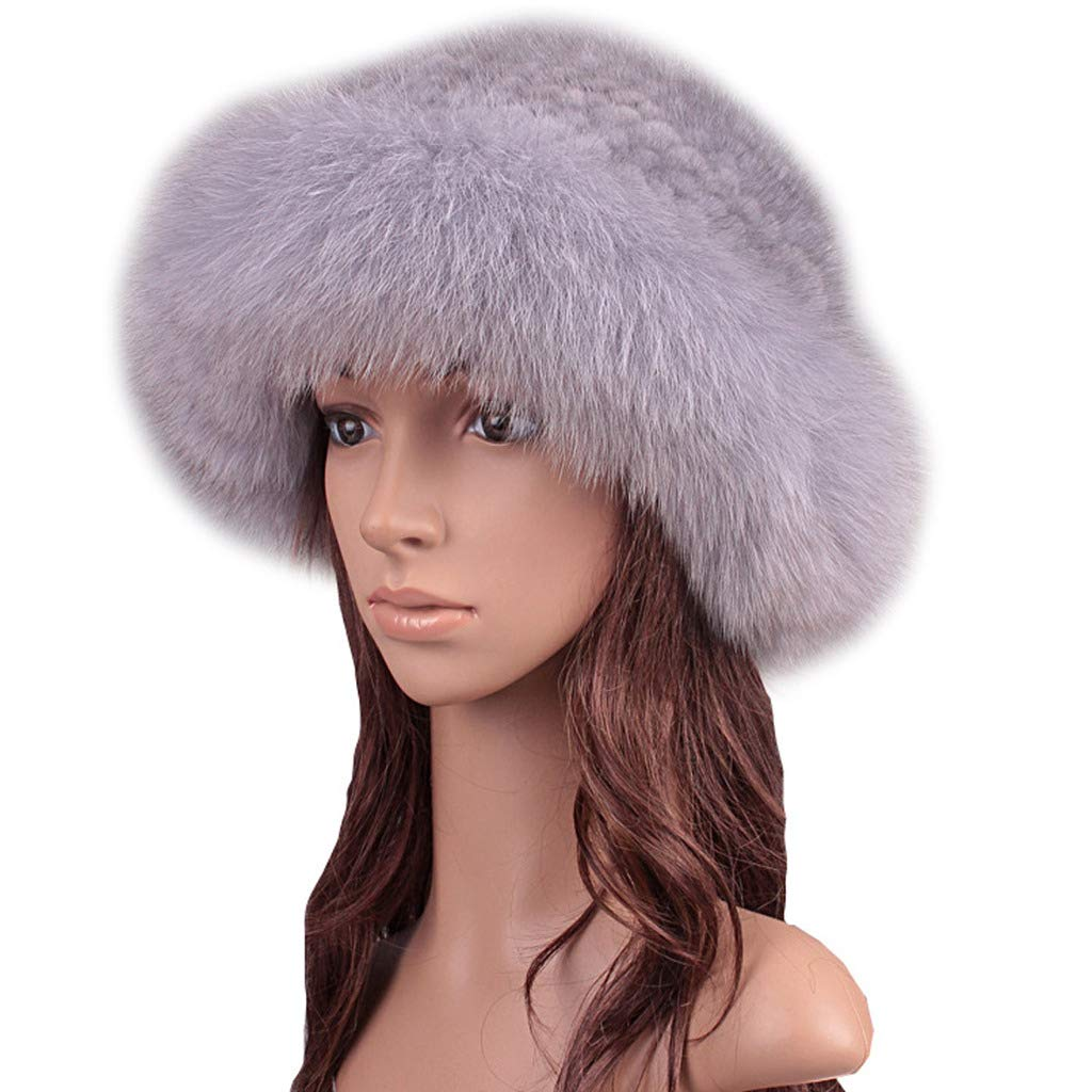 Womens Winter Hat Knitted Mink Real Fur Hats with Fox Fur Brim Elegant Hat for Women Grey by ClimbUp (Image #1)