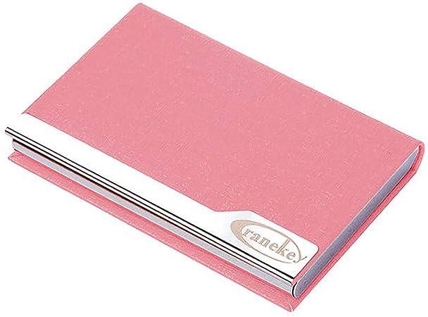 CAO-LIFE Estuche para Tarjetas De Visita con Titular De Tarjeta De Crédito De Cuero De PU Y De Acero Inoxidable Estuche para Tarjeta De Presentación para Hombres Y Mujeres (Color : Pink):