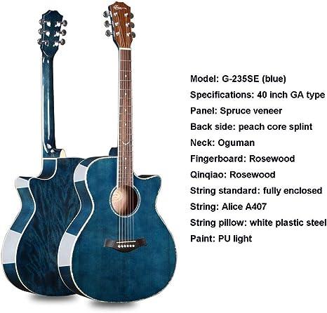SXJC 40 Pulgadas Dreadnought Guitarra Acústica De Cuerdas De Acero ...